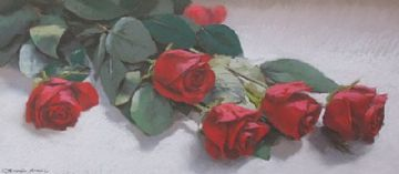 German Aracil Original Pastel Painting Roses Still Life